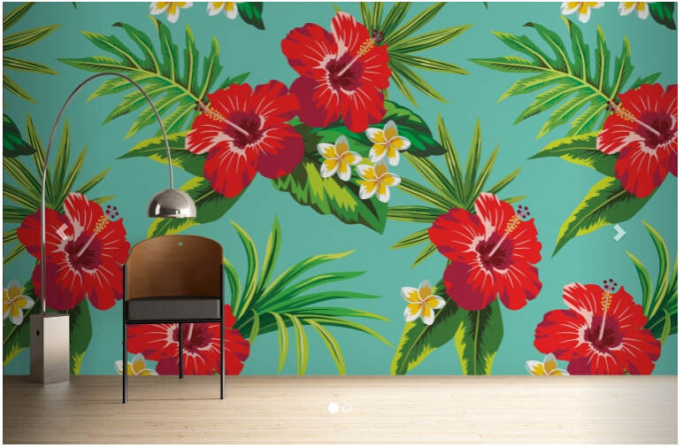 Custom papel DE parede floral, Turquoise Hibiscus Print is used in the the bedroom TV wall