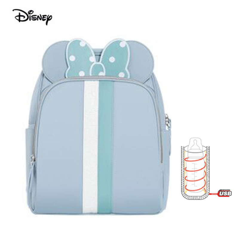 Disney 2018 New USB Heating Diaper Backpack Multifunction Waterproof Mother Bag For Babies Nappies Maternity Mom Travel Bag