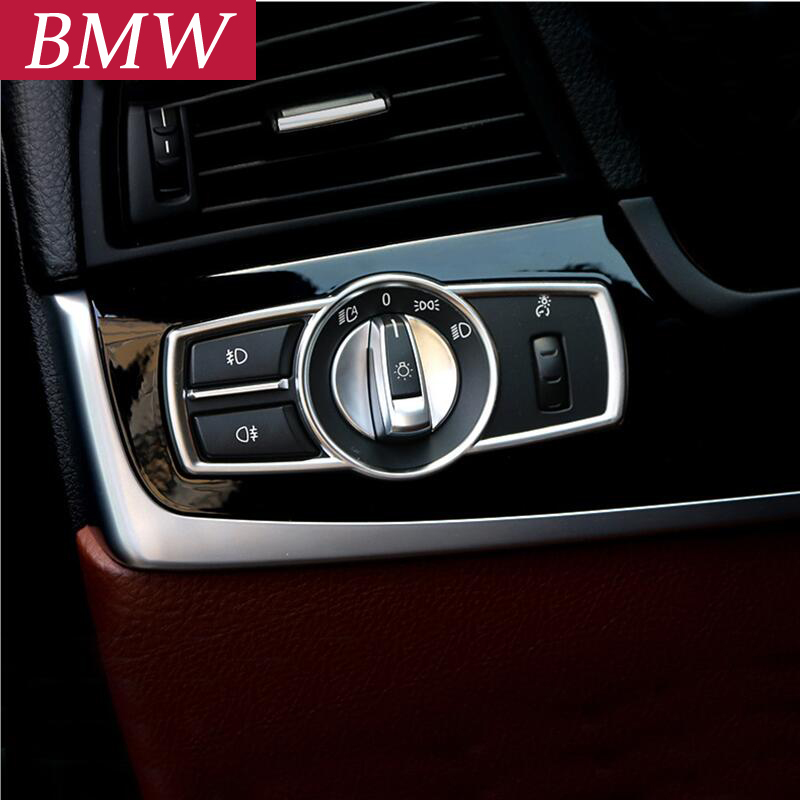 Car styling Headlight Switch frame Lamp panel decorative 3D sticker cover trim strip interior molding For BMW 5/7Series GT x3x4