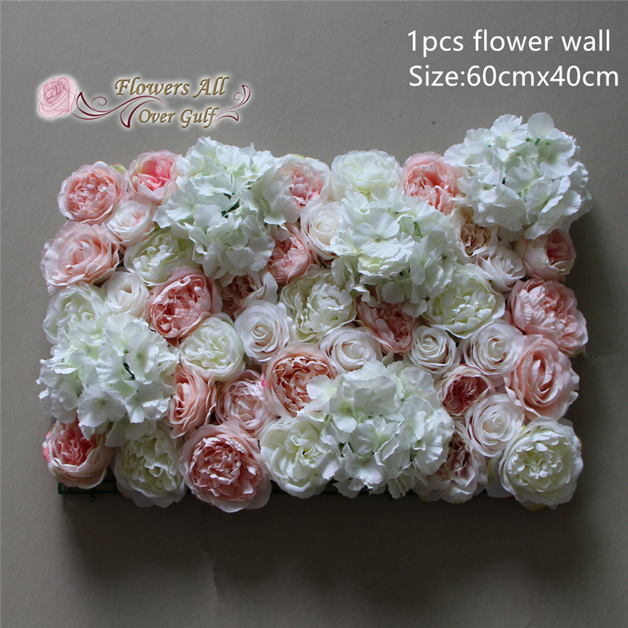 Artificial Flowers White Rose With Pink Peony Fake Flowers Wall For