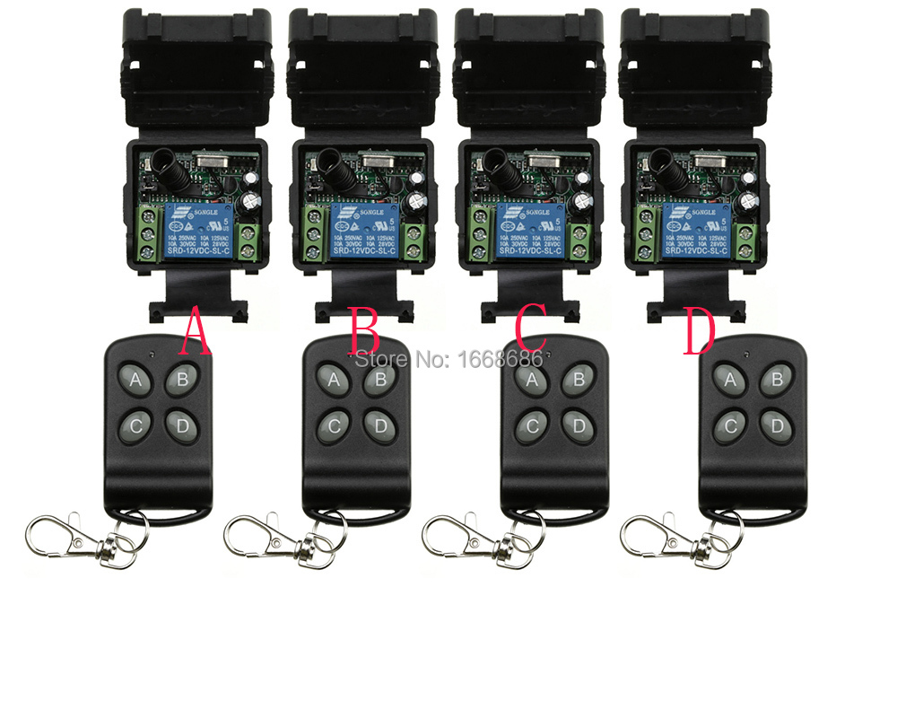 DC12V 1CH RF wireless remote control switch system 4 transmitter& 4 receiver relay smart house z-wave /lamp/ window/Garage Doors dc 12v 24v wireless remote control switch system remote controller rf radio control switch 1ch 10a relay receiver transmitter