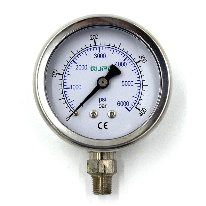 Купить с кэшбэком QUPB 63MM PCP Paintball 400bar High Pressure Gauges liquid Filled Diving Pressure Gauge Stainless Steel Case 1/8NPT GEL001