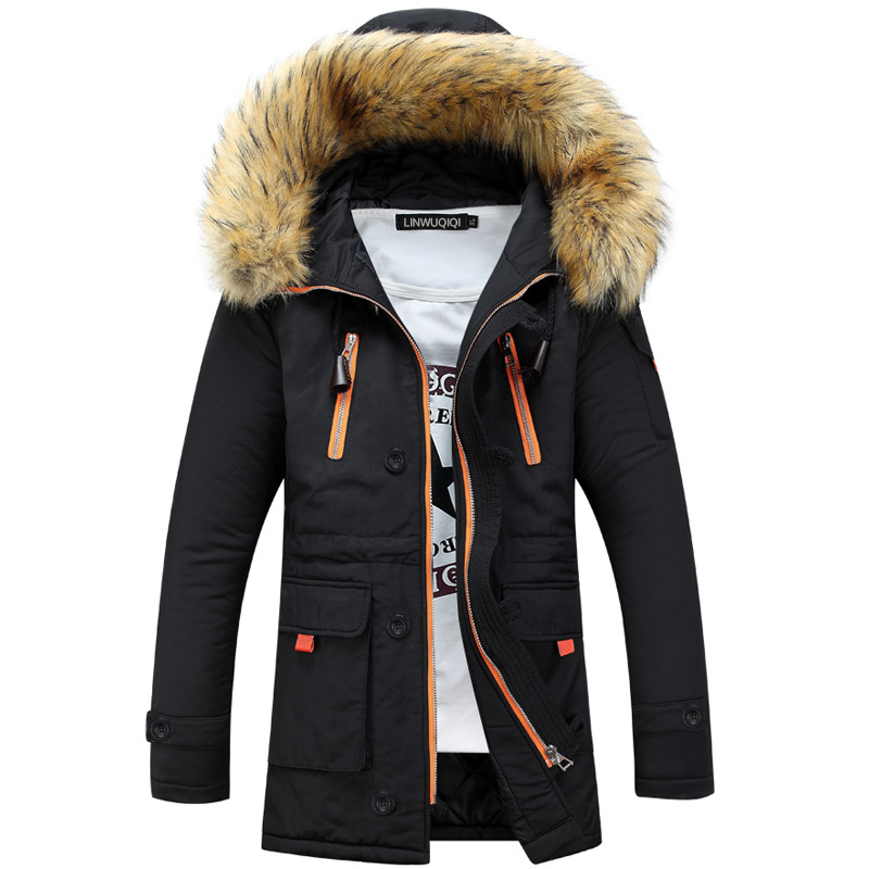 Hot High quality Fashion New Men's Warm Down Cotton Jacket Fur Collar Thick zipper Winter Hooded Coat Outwear long Parka FT10S 2017 men down jacket winter warm collar fur trim hood coat outwear puffer down cotton long jacket clothes thick canada cheap