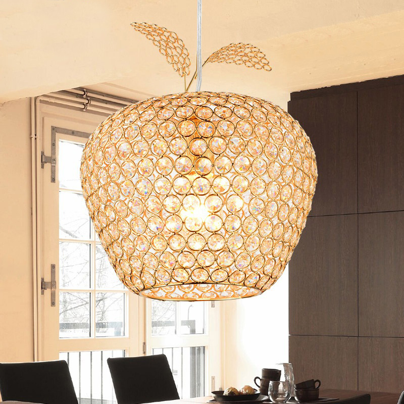 27 Promo Code For Home Decorators: New Creative Crystal Apple Pendant Lamp Gold Lampshade