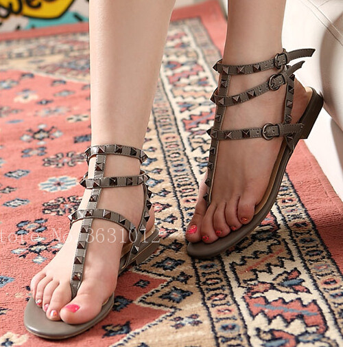 2018 Summer Fashion Thong T-tied Women Sandals Flats Rivets Stud Narrow Band Buckle Ankle Strappy Shiny/Matt Leather Shoes Woman 100pcs lot 6colors 12mm round spikes fashion pop rivets stud hardware w screw for bags shoes wallets belts