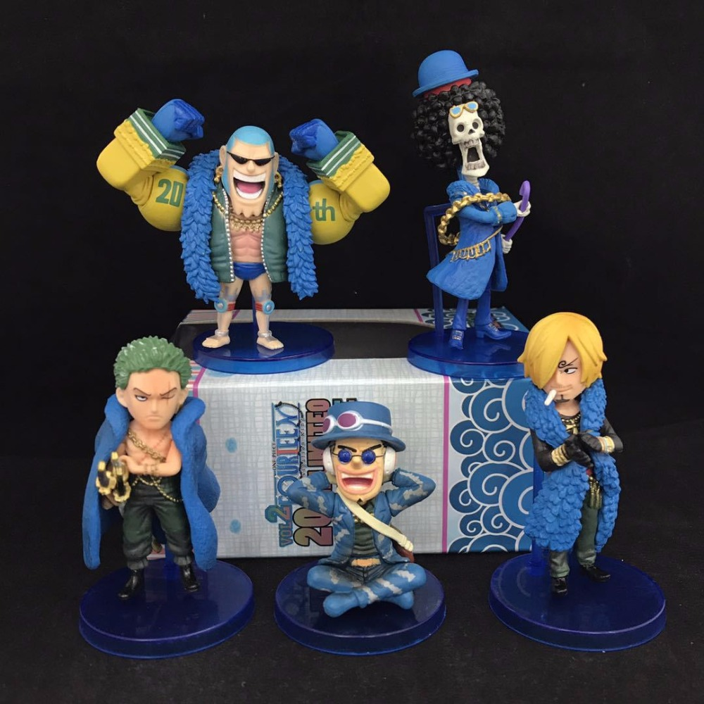 NEW hot 6-10cm 5pcs/set One Piece 20th BROOK Usopp Roronoa Zoro FRANKY Vinsmoke Sanji Action figure toys doll Christmas gift new hot 17cm one piece 15th roronoa zoro action figure toys doll collection christmas toy with box