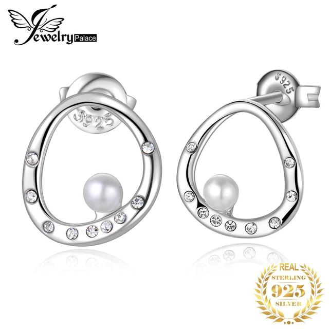 JewelryPalace Modern Art Deco Crystal 3mm Round Shape Shell Pearl Curved Circle Stud Earrings 925 Sterling Silver Trendy Jewelry