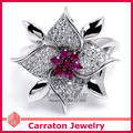 Best Gift Gorgeous Flash Big Flower CZ Diamond Genuine 925 Silver Ring