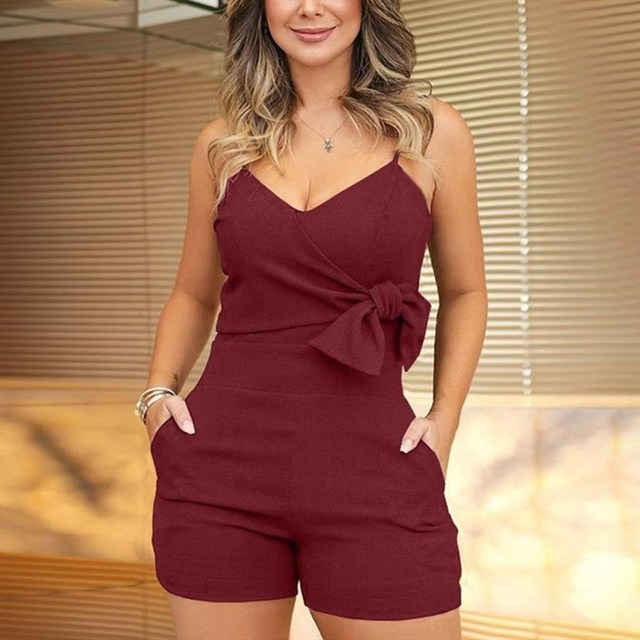 Plus Size Fashion 2019 Women V-Neck Spaghetti Strap Shorts Rompers New Casual Sleeveless Bow Slim Jumpsuit Short Solid Overalls 3