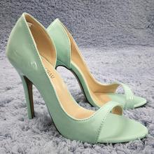 Women Stiletto Thin High Heel Sandals Sexy Open Toe Light Turquoise Patent Fashion Party Bridals Ball Lady Shoes 0640C-Q1
