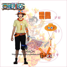 One piece Portgas D Ace Cosplay Costume Shirt+pants+leg bag+belt+hat+necklace+armcover