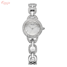 KIMIO Reloj Pulsera de Diamantes Relojes Mujeres Marca de Moda de Lujo Femenina correa Hueco de Cuarzo Reloj de Señora impermeable reloj mujer