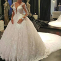 RF9 2016 Sexy V Neck Ball Gown long Sleeve Cathedral Train Wedding Dresses