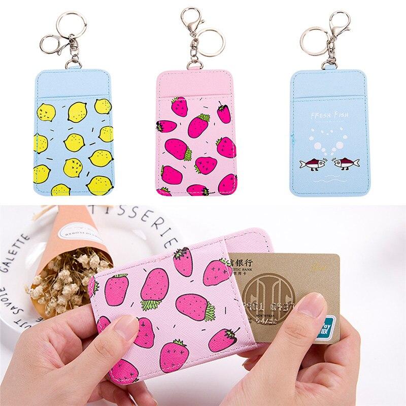 Eerlijk Sleutelhanger Badge Cover Protector Id Bank Credit Card Houder Leuke Fruit Pu Bus Kaarten Case Studenten Meisje Pocket Met Vrouwelijke Lanyard