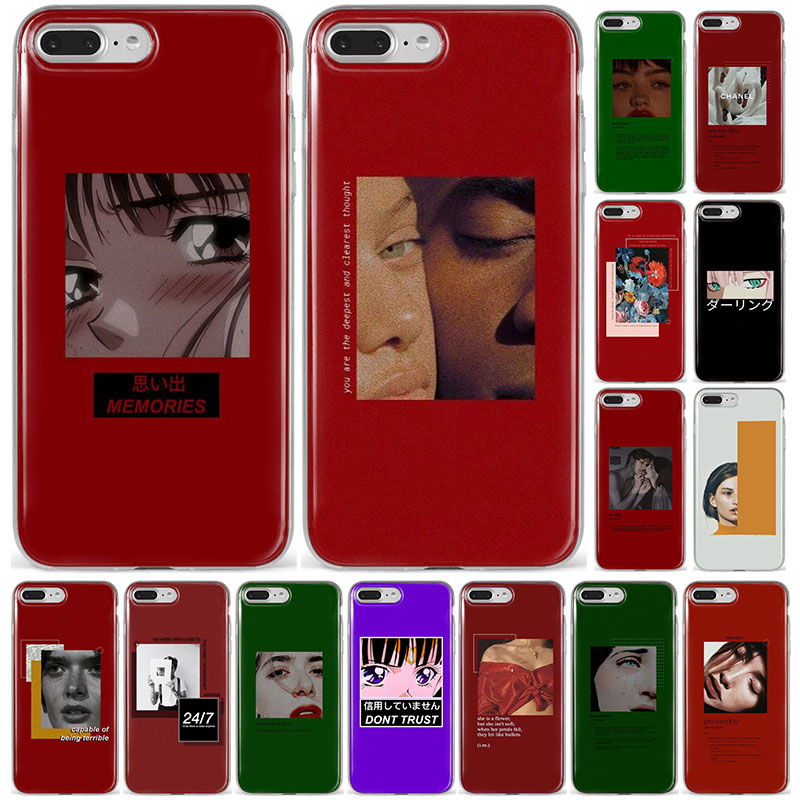 <font><b>Aesthetic</b></font> Red Vaporwave Anime Retro Vintage Art Kawaii Cover For <font><b>iPhone</b></font> X XS MAX 8 <font><b>7</b></font> 6S <font><b>Plus</b></font> 5 5s SE 11promax <font><b>Phone</b></font> <font><b>Case</b></font> XR Capa image