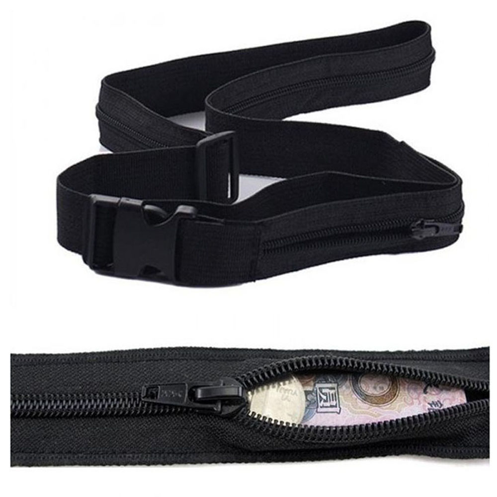 Men's Belts Secret Travel Waist Money Belt Hidden Security Safe Pouch Ticket Belt New High Quality Simple Black Color Belt