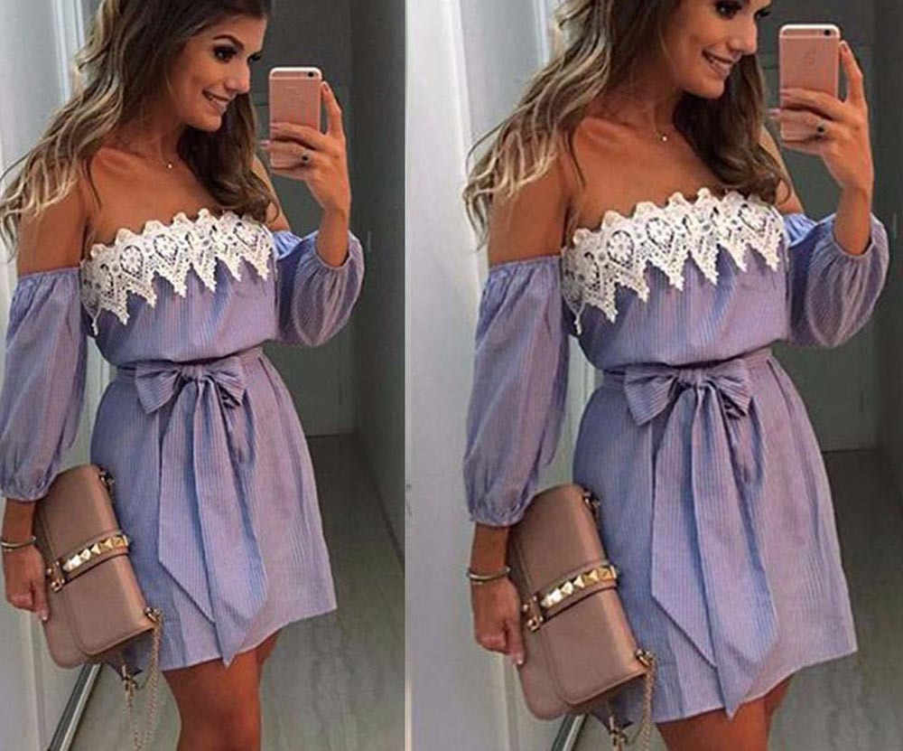 Women Off Shoulder Lace Dress Casual Sleeveless Party Short  Dress     2.27