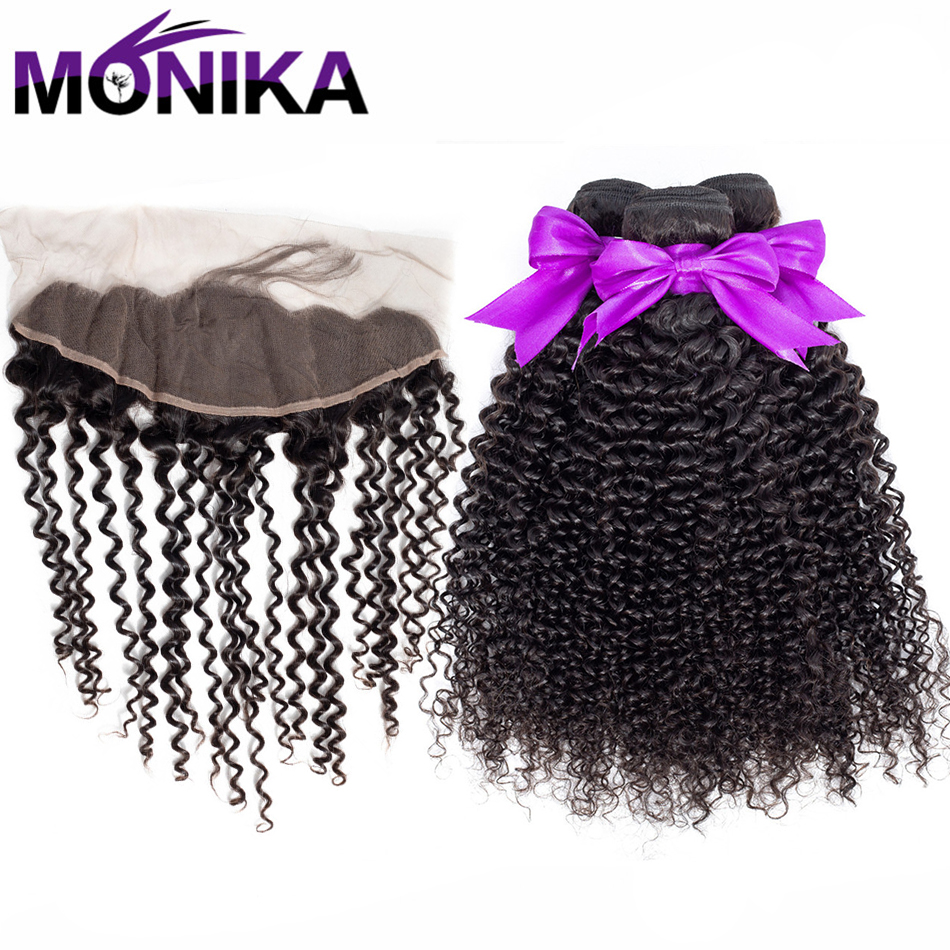Monika Hair Malaysia Kinky Curly Hair Weave Bundles Lace Frontal With Bundles Non Remy Human Hair 3 Bundles With 13x4 Frontal