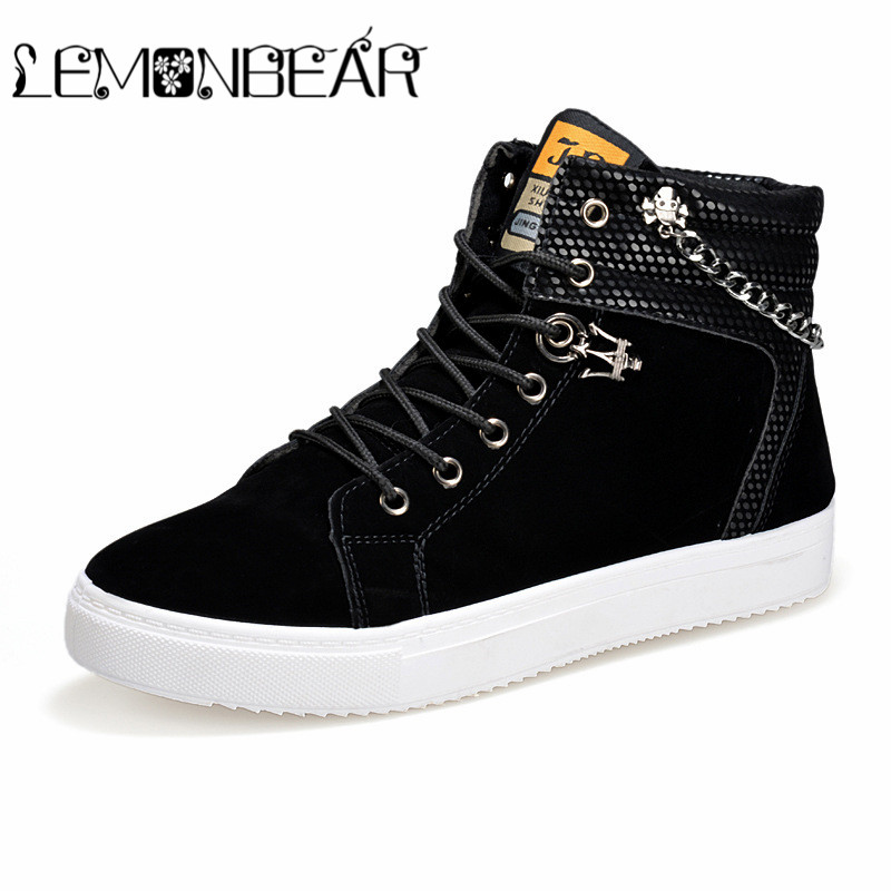 High Quality Men Vulcanized shoes New High Top Canvas Casual shoes Men Autumn Leather Sneakers Metal Chain Plus Size Male Flats 1