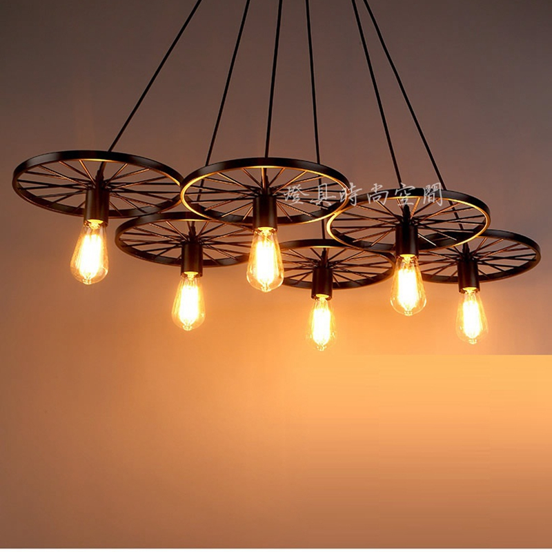 LukLoy Industrial Lighting, Nordic Iron Wheel Ktchen Chandelier Lighting Retro Edison Lamp Lights Pendant for Home Dining RoomLukLoy Industrial Lighting, Nordic Iron Wheel Ktchen Chandelier Lighting Retro Edison Lamp Lights Pendant for Home Dining Room
