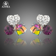 AZORA Lovers Gradual Change Crystal and Sweet Heart Clear Stellux Austrian Stone Clover Stud Earrings TE0179(China)