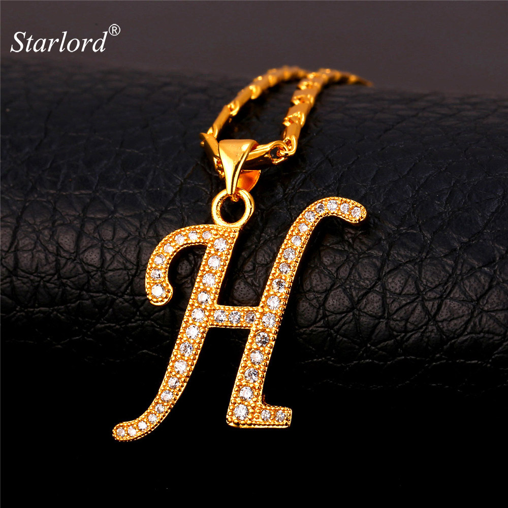 Initial H Letter Pendants   Necklaces WomenMen Personalized Gift Alphabet  Jewelry Gold Color Necklace P1678 146057bfa34