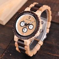 BOBO BIRD Men Watch relogio masculino Wooden Chronograph Watches Luxury Design Bright Wood Color Quartz Wristwatches C R08