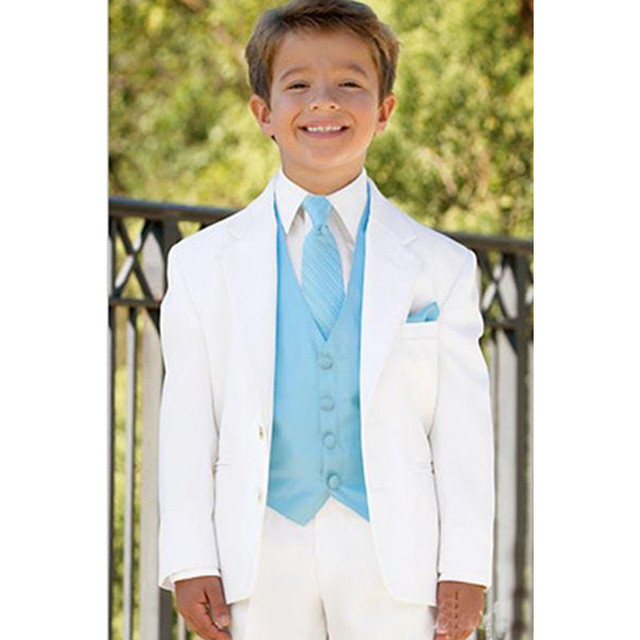 5728d2394 White Boys Suits for Wedding Prom Boy Suits Formal Costumes for Boys Kids  Tuxedo Children's Blazer Clothes 3 (Jacket+Pants+Vest)-in Suits from Men's  ...