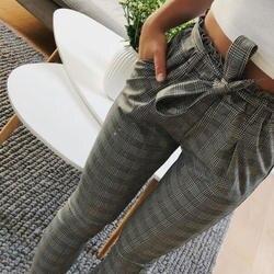 2019 на высокой талии шаровары галстук бабочка шнурок сладкий эластичный пояс, карманы повседневные штаны pantalones