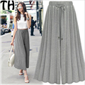 spring 2017 new elastic waist wide leg pants female casual trousers skirt formal loose ol straight pants Trousers Female MK024