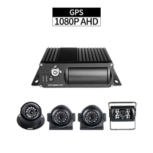 GPS 1080P Truck DVR Security 4CH AHD SD Mobile DVR with 2pcs Side Cameras 1pcs Rear Camera 1pcs Indoor Camera for Vehicle Taxi cheap GISION G1-GPS-5 4PCS None 1080P 4CH GPS MDVR Kit Chinese English H 264 dual sd card up to 256G included a 64g sd card Delayed Shutdown GPS