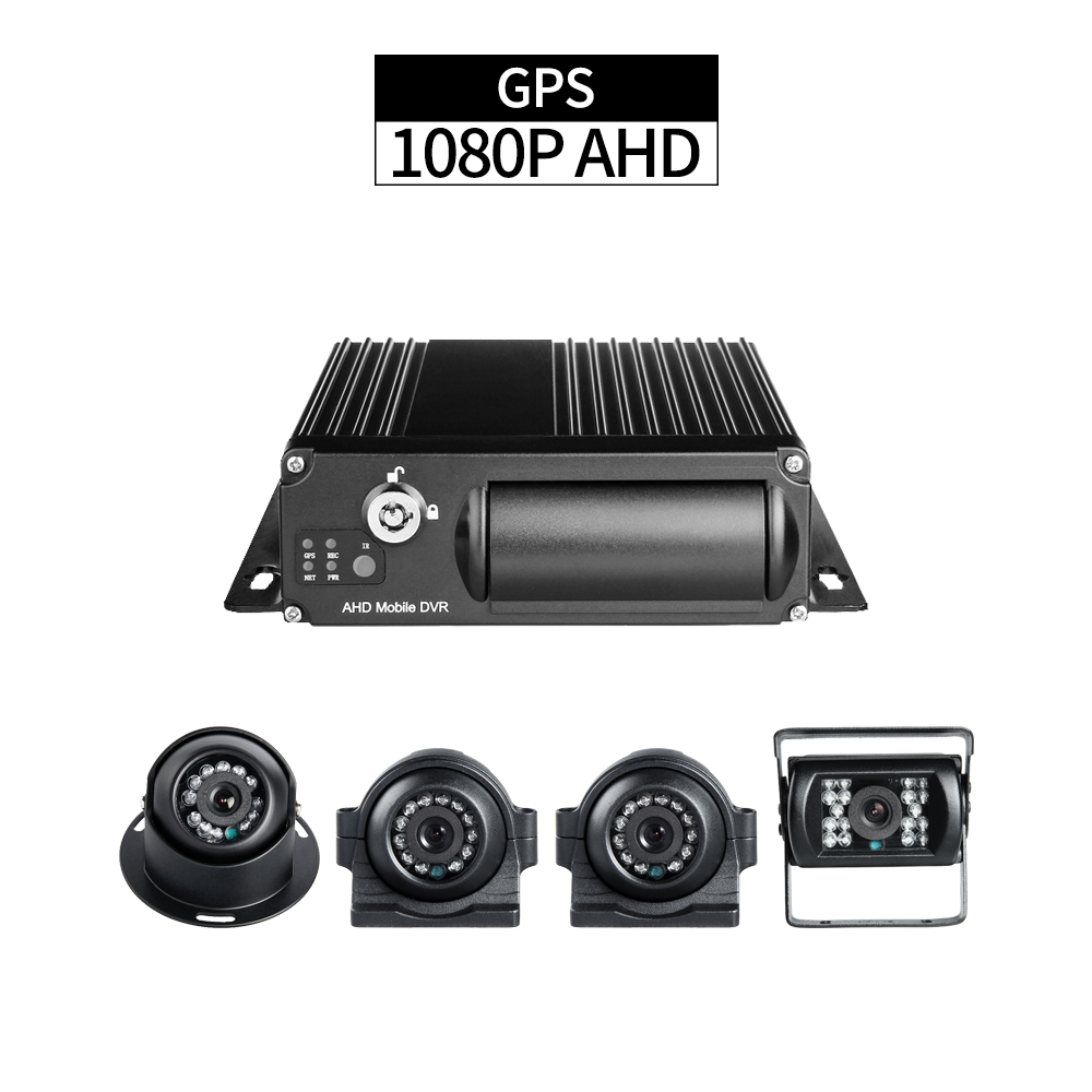 GPS 1080P Truck DVR Security 4CH AHD SD Mobile DVR with 2pcs Side Cameras 1pcs Rear Camera 1pcs Indoor Camera for Vehicle Taxi|Surveillance System| |  - title=