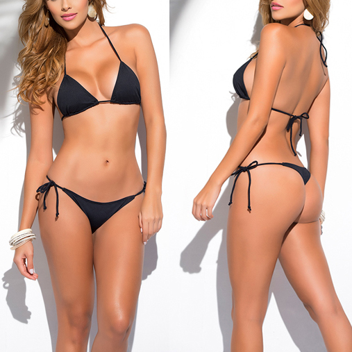 6cc020dd3cbd2 Solid Yellow Classic Thong Bikini Women's Swimsuit Summer Beach String  Bikinis Sexy Female Bathing Suit Multi Color Swimwear1667-in Bikinis Set  from Sports ...