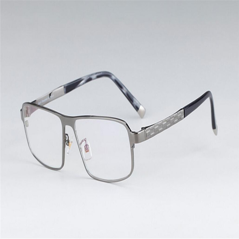 Men's Eyewear Frames Mongoten Business Men Fashion Screwless Half Rim Titanium Myopia Eyeglasses Frame Black Silver Ultralight Brand Optical Eyewear