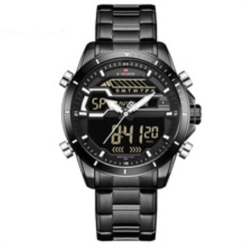 2018 Watch Men Luxury Watches Top Brand Military Stainless Steel Analog LED Digital Quartz Male Clock New Sport Watch NAVIFORCE naviforce men watch digital analog sport mens watches top brand luxury military stainless steel led quartz male clock box 9093
