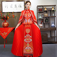 Elegant Stage Show Clothing Evening Gowns Traditional Chinese Lady Wedding Embroidery Qipao Sexy Satin Cheongsam Vestidos S XXL