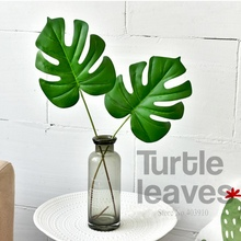 ФОТО 1pcs large palm tree local landscape artificial turtle leaf green plant decorative flower for table decoration tropical leaves