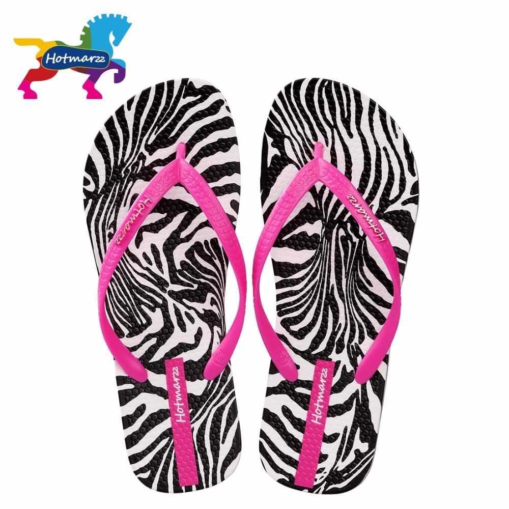 Hotmarzz Women Zebra Print Flip Flops Beach Slippers Summer Sandals Slides Slip On Flat Sandals coolsa new summer linen women slippers fabric eva flat non slip slides linen sandals home slipper lovers casual straw beach shoe