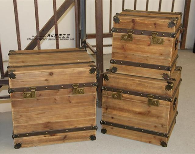 LOFT Industrial Wind Wrought Iron Wood Box Vintage American Country Fight  High Grade Wood Cabinet