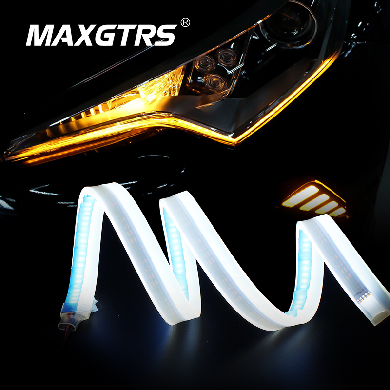 2x Ultrafine 30cm 45cm 60cm DRL Flexible LED Tube Style Daytime Running Lights Tear Strip Car