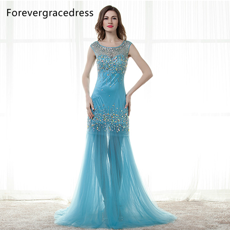 Forevergracedress Real Images Blue   Prom     Dress   Hot Sale Sheer Top Long Beaded Crystal Tulle Formal Party Gown Plus Size