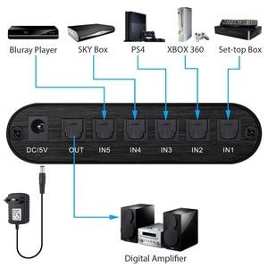 Image 2 - Commutateur Audio optique numérique Proster 5x1 commutateur SPDIF/Toslink 5x1 avec entrée TosLink optique à distance IR pour amplificateur AV