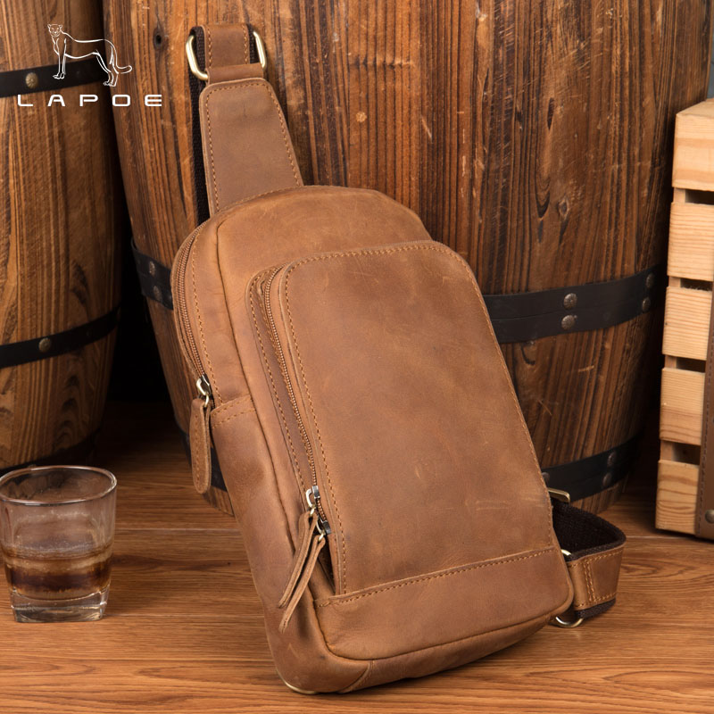 LAPOE 2018 New Vintage Genuine Leather Crossbody Bags for Men Messenger Chest Bag Pack Casual Bag Single Shoulder Strap Pack lapoe 2018 new vintage genuine leather crossbody bags for men messenger chest bag pack casual bag single shoulder strap pack