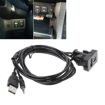 High Quality 1 Pc Auto Car 3.5mm AUX USB Extension Cable Panel Headphone Male Jack Flush Mount Adapter