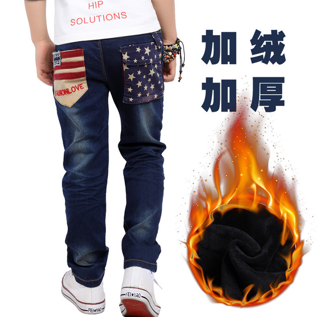 PAIGE 2016Winter Boys Jeans Pants Cotton Padded,Children Jeans Baby,Kids Jeans For Boys,Sports Pants,Trousers For Boys 110-170cm