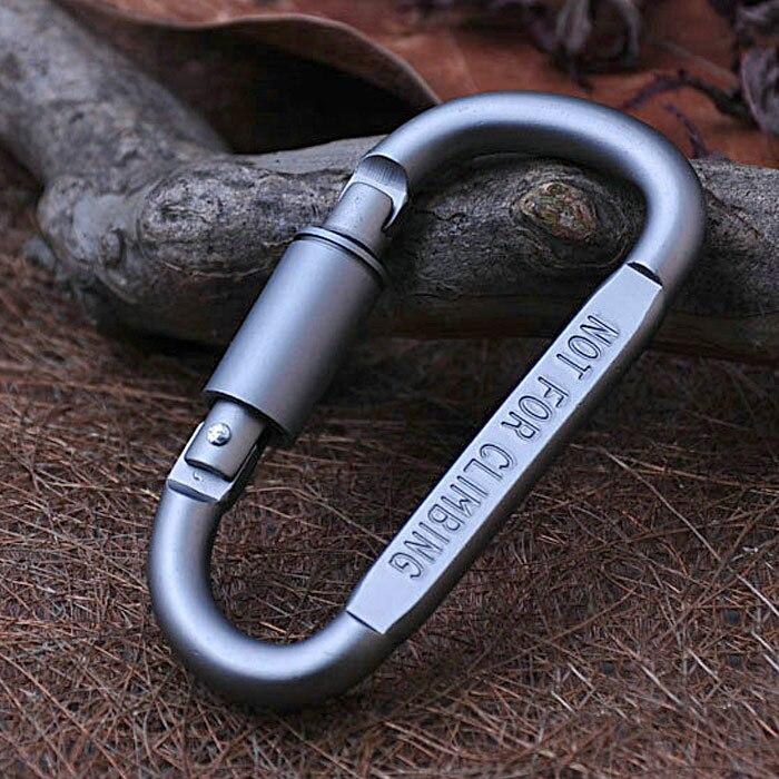 100 pcs/paquet D en forme de mousqueton de verrouillage mousqueton mousqueton porte-clés activités de plein air en alliage d'aluminium