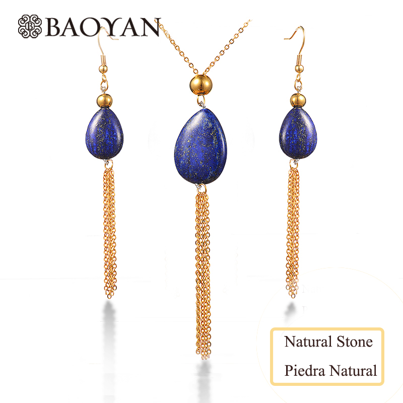Baoyan natural stone blue Lapis female tassel necklace set gold 316L stainless steel wholesale