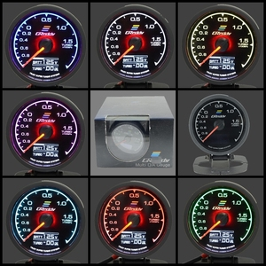 62mm 7 Color in 1 Racing Gauge GReddi Multi D/A LCD Digital Display Turbo Boost Gauge Car Gauge 2.5 Inch(China)