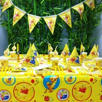 78pcs/set Disney Winnie The Pooh Happy Birthday Kids Wedding Party Decorations Paper Plastic Party Supplies Tableware Set Banner