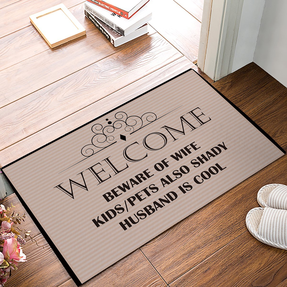 Beware Of Wife Kids Pets Also Shady Husband Is Cool - Beige Door Mats Kitchen Floor Bath Entrance Rug Mat Indoor Bathroom image